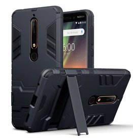 Qubits Qubits - Double Armor Layer hoes met stand - Nokia 6 2018 - zwart