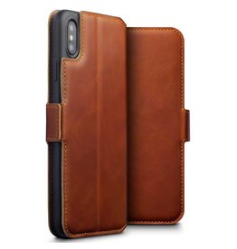 Qubits Qubits - lederen slim folio wallet hoes - iPhone XS Max - cognac