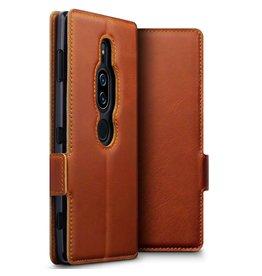 Qubits Qubits - lederen slim folio wallet hoes - Sony Xperia XZ2 Premium - Cognac
