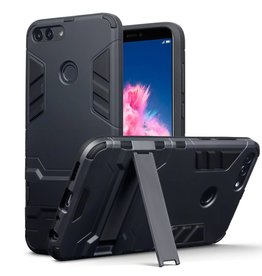 Qubits Qubits - Double Armor Layer hoes met stand - Huawei P Smart - zwart