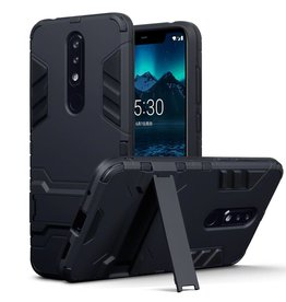 Qubits Qubits - Double Armor Layer hoes met stand - Nokia 5.1 Plus - zwart