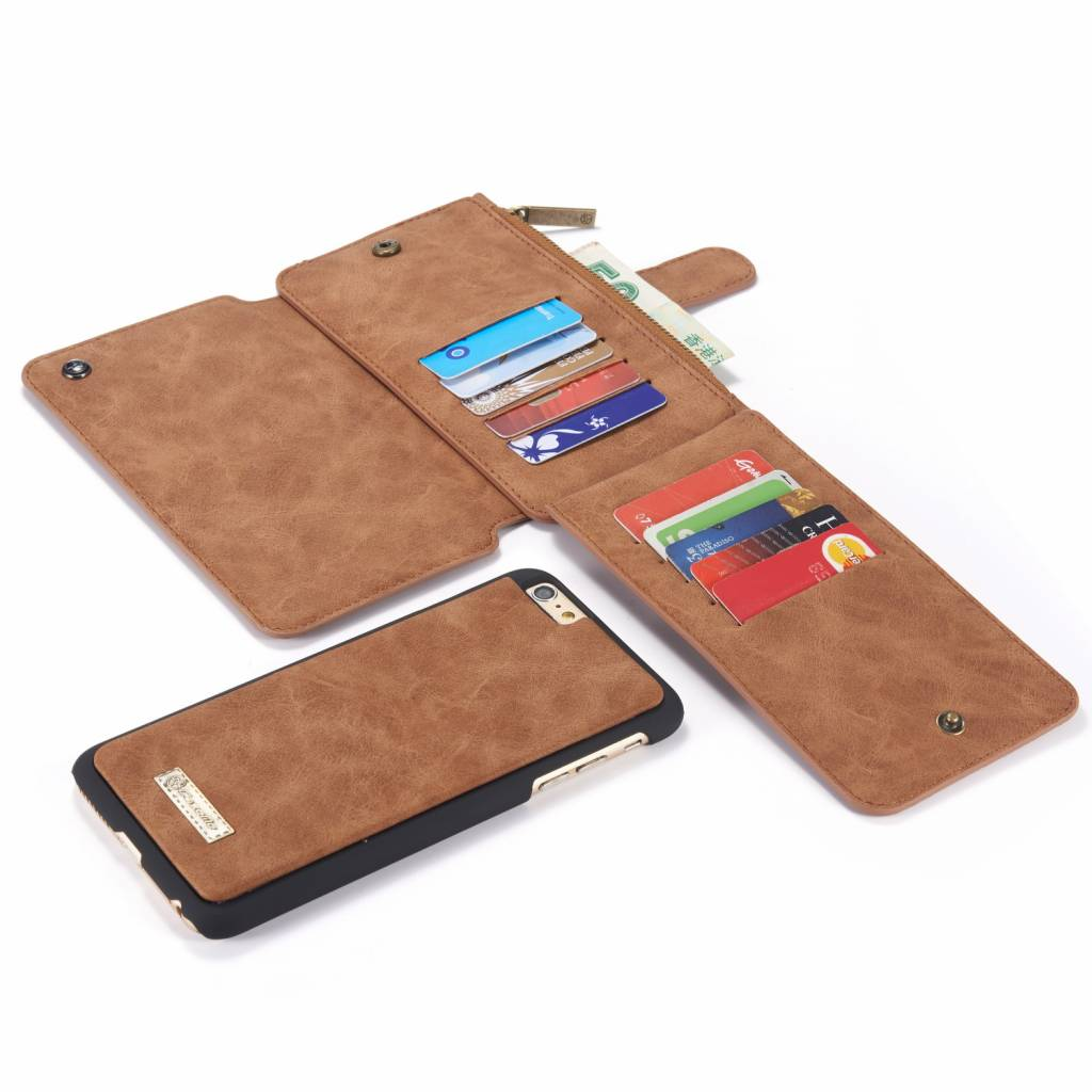 Caseme Caseme luxe portemonnee bruin hoes voor de iPhone 6 Plus en iPhone 6s Plus