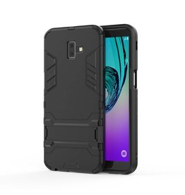 Lunso Lunso - Double Armor Layer hoes met stand - Samsung Galaxy J6 Plus - Zwart