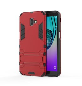 Lunso Lunso - Double Armor Layer hoes met stand - Samsung Galaxy J6 Plus - rood
