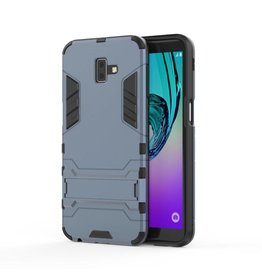 Lunso Lunso - Double Armor Layer hoes met stand - Samsung Galaxy J6 Plus - blauw
