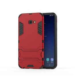 Lunso Lunso - Double Armor Layer hoes met stand - Samsung Galaxy J4 Plus - Rood