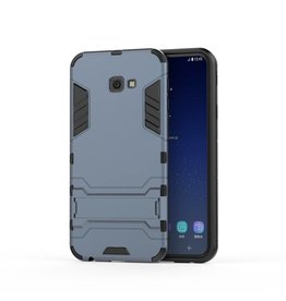 Lunso Lunso - Double Armor Layer hoes met stand - Samsung Galaxy J4 Plus - Blauw