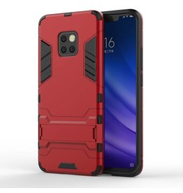 Lunso Lunso - Double Armor Layer hoes met stand - Huawei Mate 20 Pro - Rood