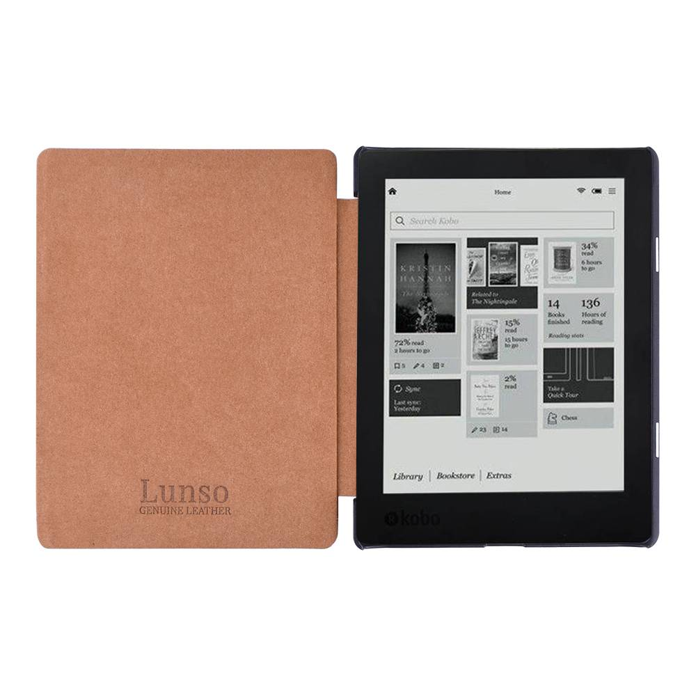 "Lunso Lunso echt lederen sleepcover hoes cognac voor de Kobo Aura H20 edition 2 (6.8"")"