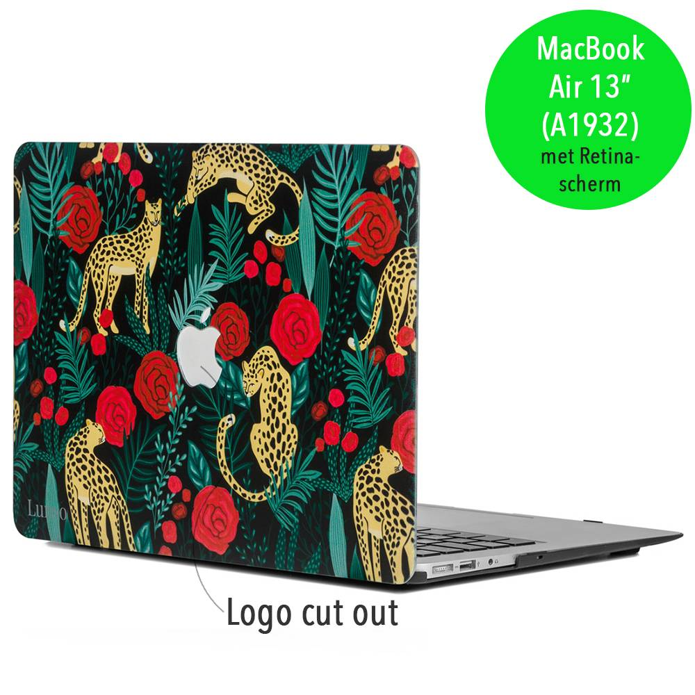 Lunso Lunso Leopard Roses cover hoes voor de MacBook Air 13 inch (A1932/A1989)