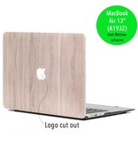Lunso Lunso Houtlook lichtbruin cover hoes voor de MacBook Air 13 inch (2018)