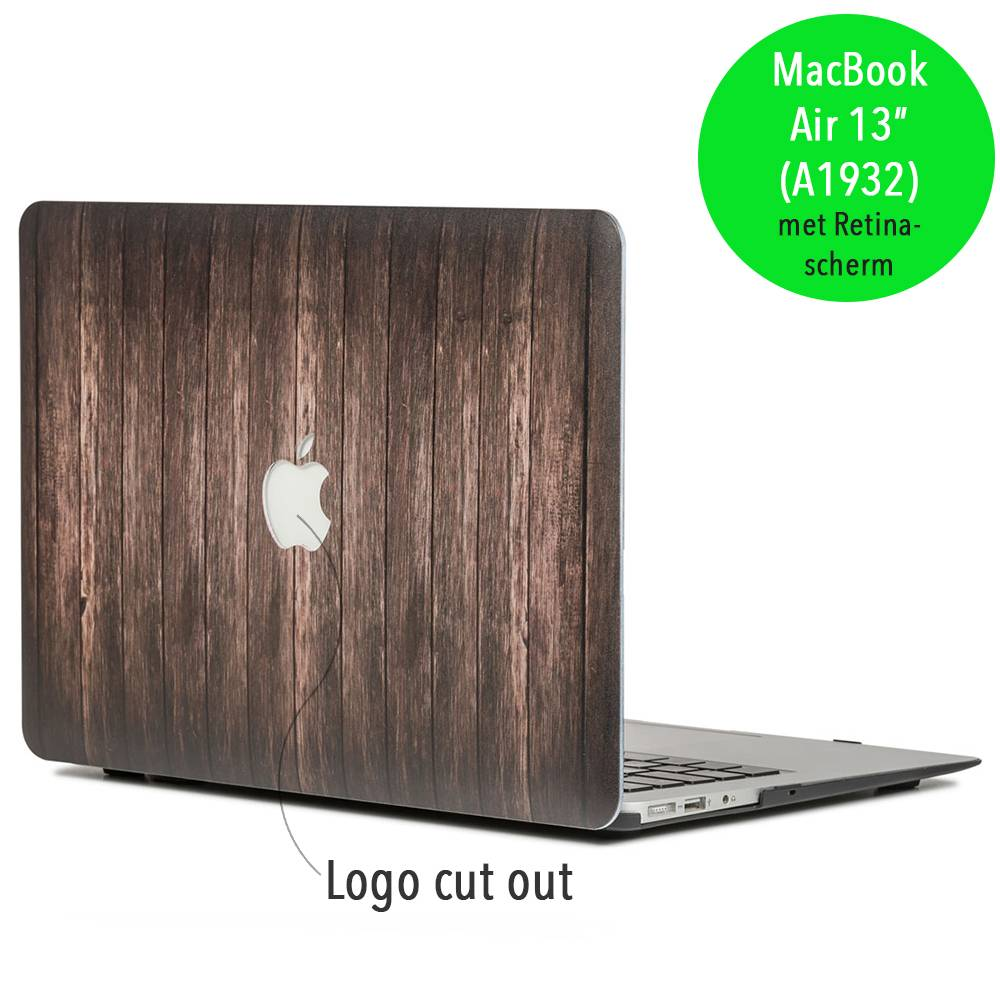 Lunso Lunso Houtlook donkerbruin cover hoes voor de MacBook Air 13 inch (A1932/A1989)