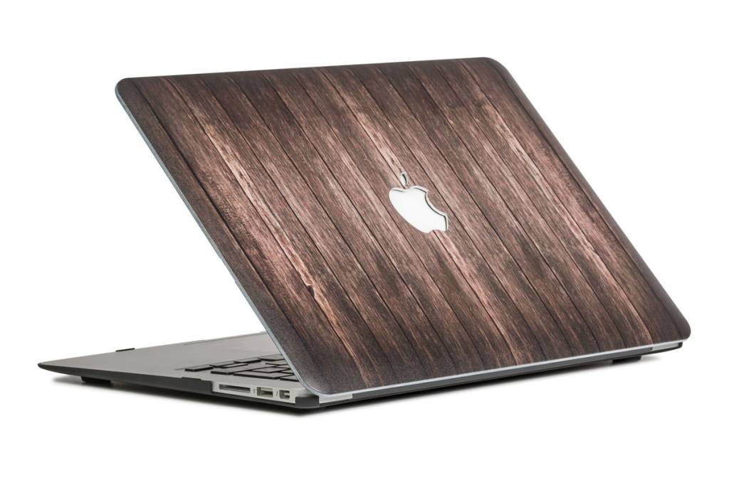 Lunso Lunso Houtlook donkerbruin cover hoes voor de MacBook Air 13 inch (2018)