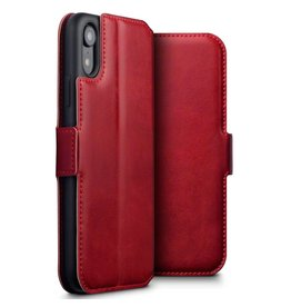 Qubits Qubits - lederen slim folio wallet hoes - iPhone XR - Rood