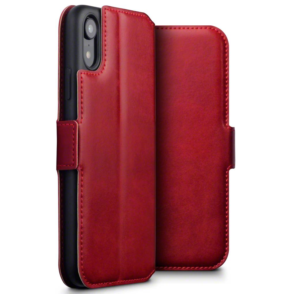 Qubits Qubits lederen slim folio wallet hoes rood voor de iPhone XR
