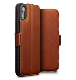 Qubits Qubits - lederen slim folio wallet hoes - iPhone XR - Cognac