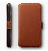 Qubits Qubits lederen slim folio wallet hoes cognac voor de iPhone XR