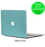 Lunso Glitter lichtblauw cover hoes voor de MacBook Air 13 inch (2018-2019)