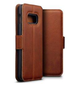Qubits Qubits - lederen slim folio wallet hoes - Samsung Galaxy S10e - Cognac