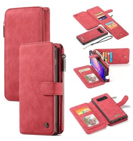 Caseme Caseme - luxe portemonnee hoes - Samsung Galaxy S10 - Rood