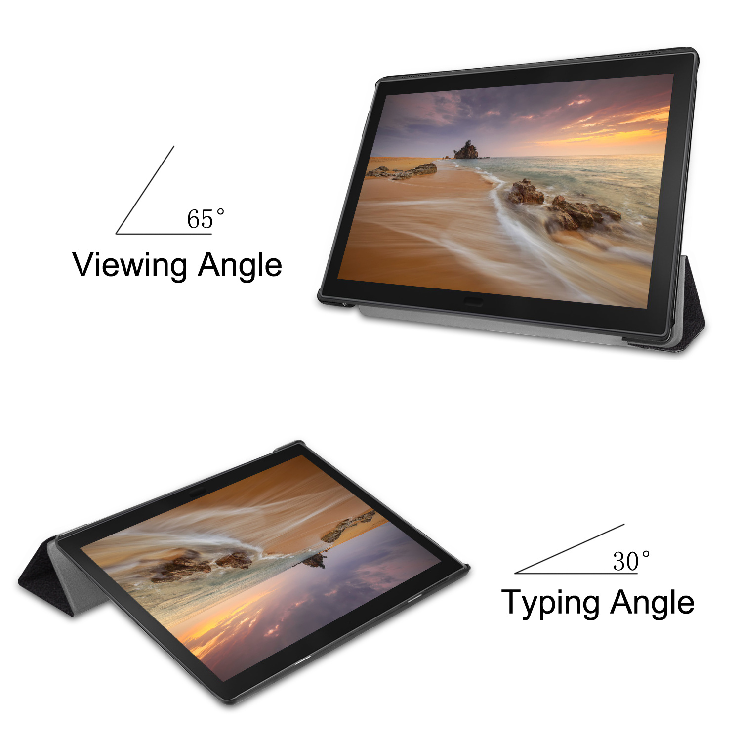 Lunso 3-Vouw sleepcover hoes Don't Touch voor de Lenovo Tab E10