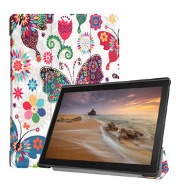 Lunso 3-Vouw sleepcover hoes - Lenovo Tab E10 - Vlinders