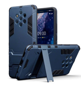 Qubits Qubits - Double Armor Layer hoes met stand - Nokia 9 PureView - Blauw