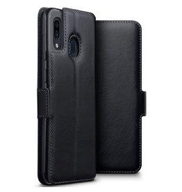 Qubits Qubits - lederen slim folio wallet hoes - Samsung Galaxy A30 - Zwart