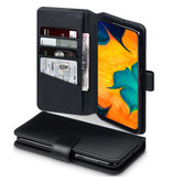 Qubits Qubits luxe echt lederen wallet hoes zwart voor de Samsung Galaxy A30
