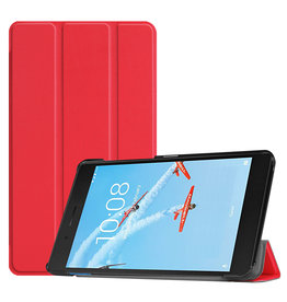 Lunso 3-Vouw sleepcover hoes - Lenovo Tab E7 - Rood