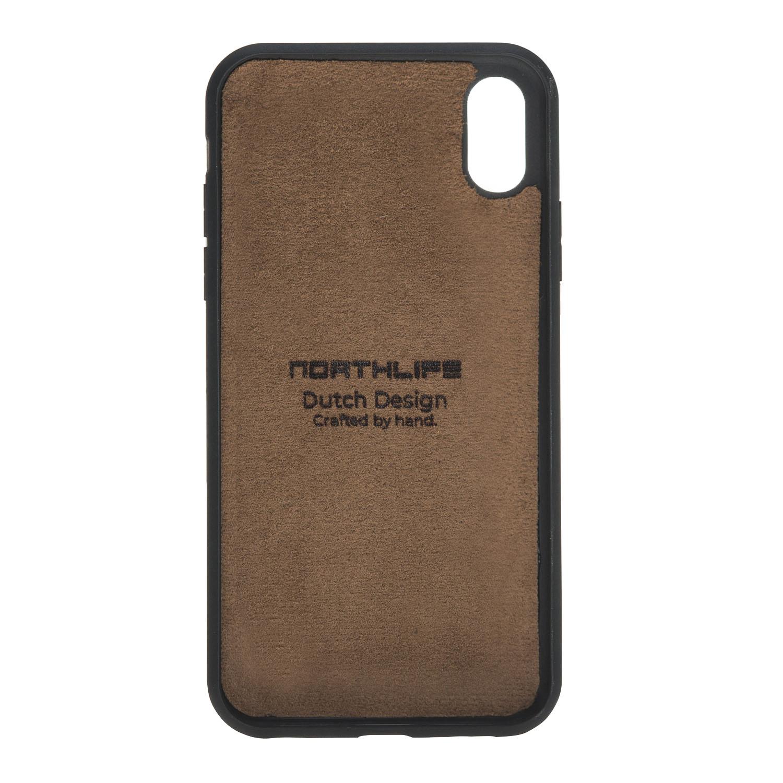 NorthLife Echt lederen uitneembare 2-in-1 sleepcover bookcase hoes Tiguan Cognac voor de iPhone XR