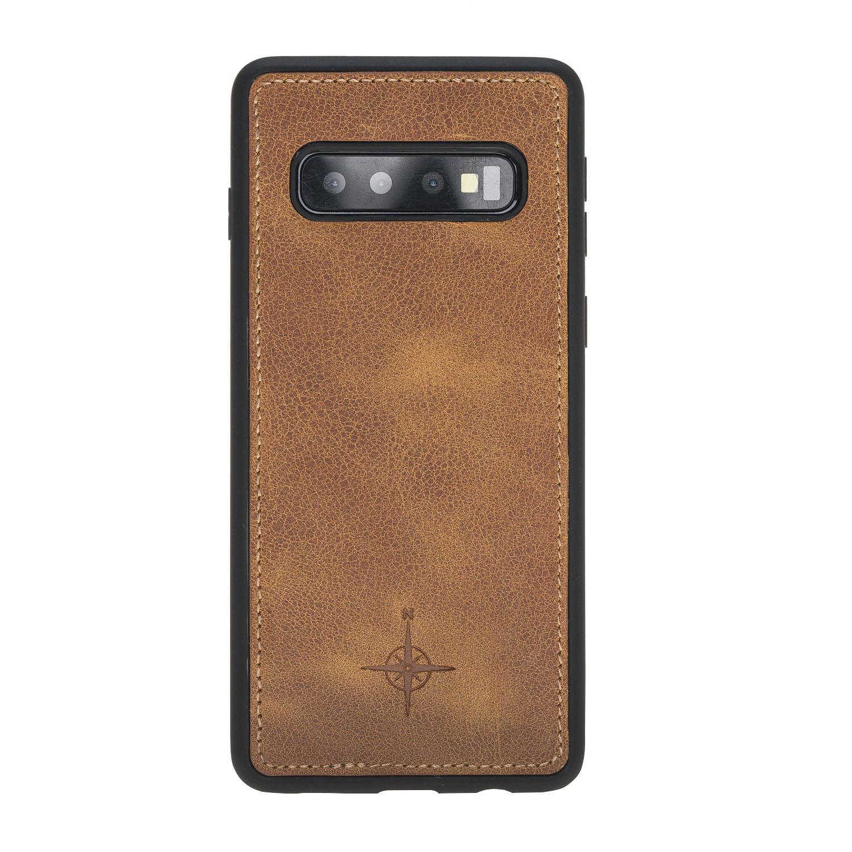 NorthLife Echt lederen uitneembare 2-in-1 (RFID) bookcase hoes Tiguan Cognac voor de Samsung Galaxy S10
