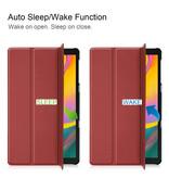 3-Vouw sleepcover hoes Bordeaux Rood voor de Samsung Galaxy Tab S5e 10.5 inch