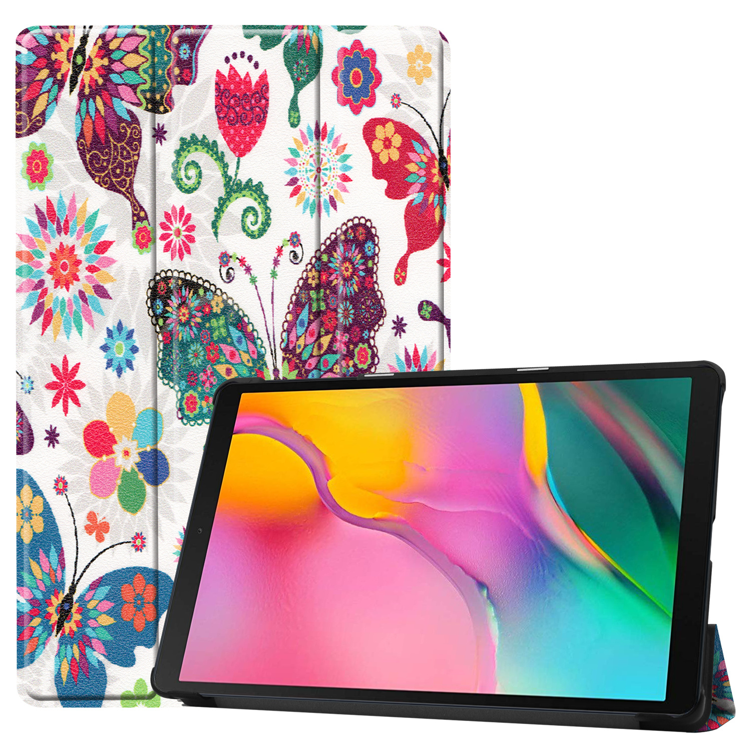 3-Vouw cover hoes Don't Touch voor de Samsung Galaxy Tab A 10.1 inch Vlinders