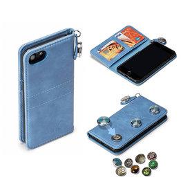 GranC GranC - drukknopen wallet hoes - iPhone 7 / 8 / SE (2020) - Lichtblauw