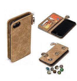 GranC GranC - drukknopen wallet hoes - iPhone 7 / 8 / SE (2020) - taupe