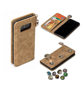 GranC GranC - drukknopen wallet hoes - Samsung Galaxy S8 - taupe