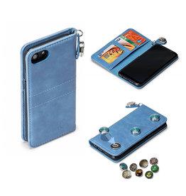 GranC GranC - drukknopen wallet hoes - Samsung Galaxy S8 - lichtblauw