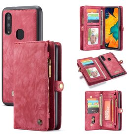 Caseme Caseme - vintage 2 in 1 portemonnee hoes - Samsung Galaxy A40  - Rood