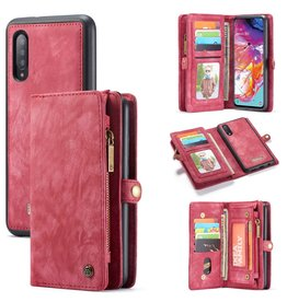 Caseme Caseme - vintage 2 in 1 portemonnee hoes - Samsung Galaxy A70  - Rood