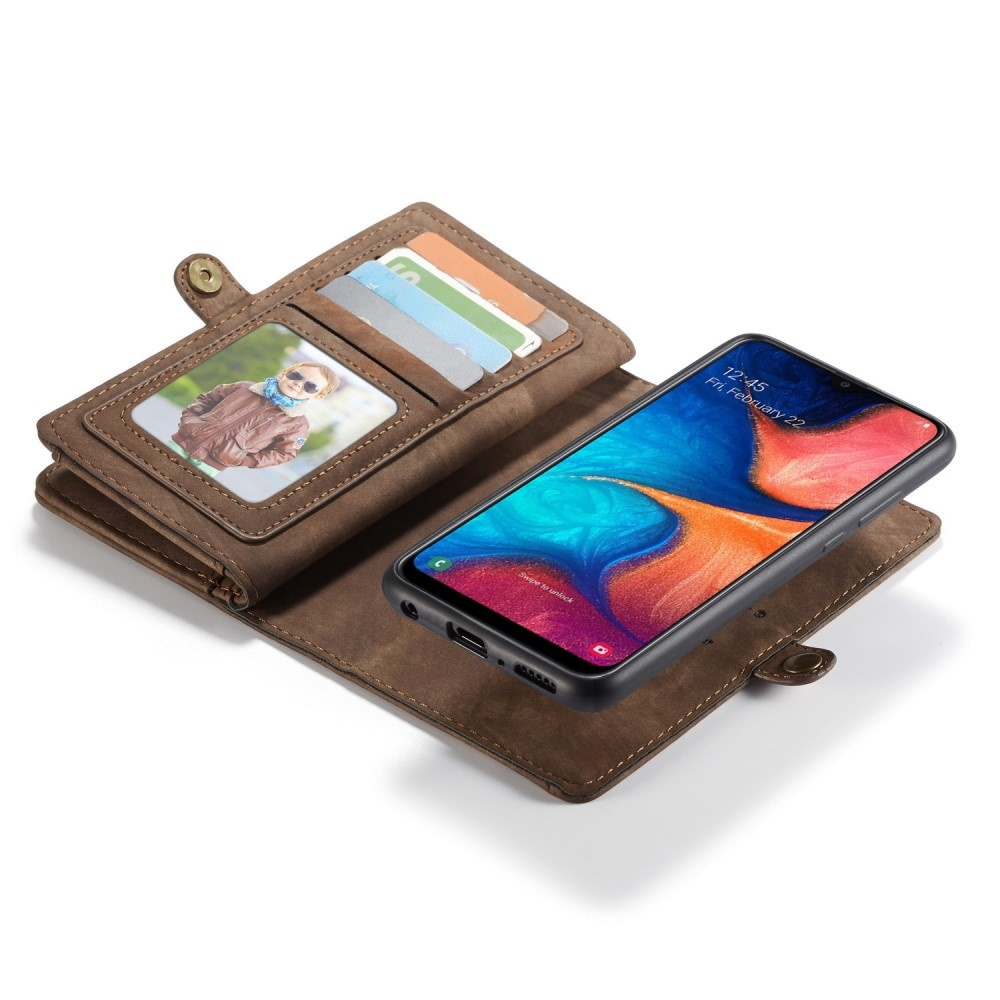 Caseme Vintage 2 in 1 portemonnee hoes Bruin voor de Samsung Galaxy A30 / A20