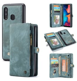 Caseme Caseme - vintage 2 in 1 portemonnee hoes - Samsung Galaxy A30 / A20 - Blauw