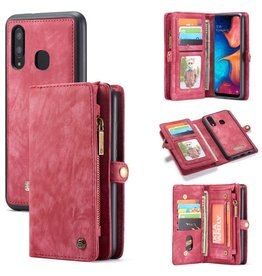Caseme Caseme - vintage 2 in 1 portemonnee hoes - Samsung Galaxy A30 / A20 - Rood