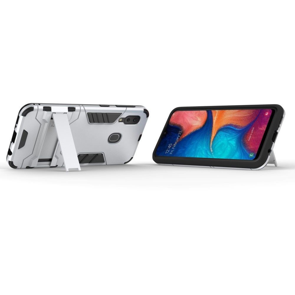 Lunso Lunso Double Armor Layer hoes zilver met stand voor de Samsung A20e