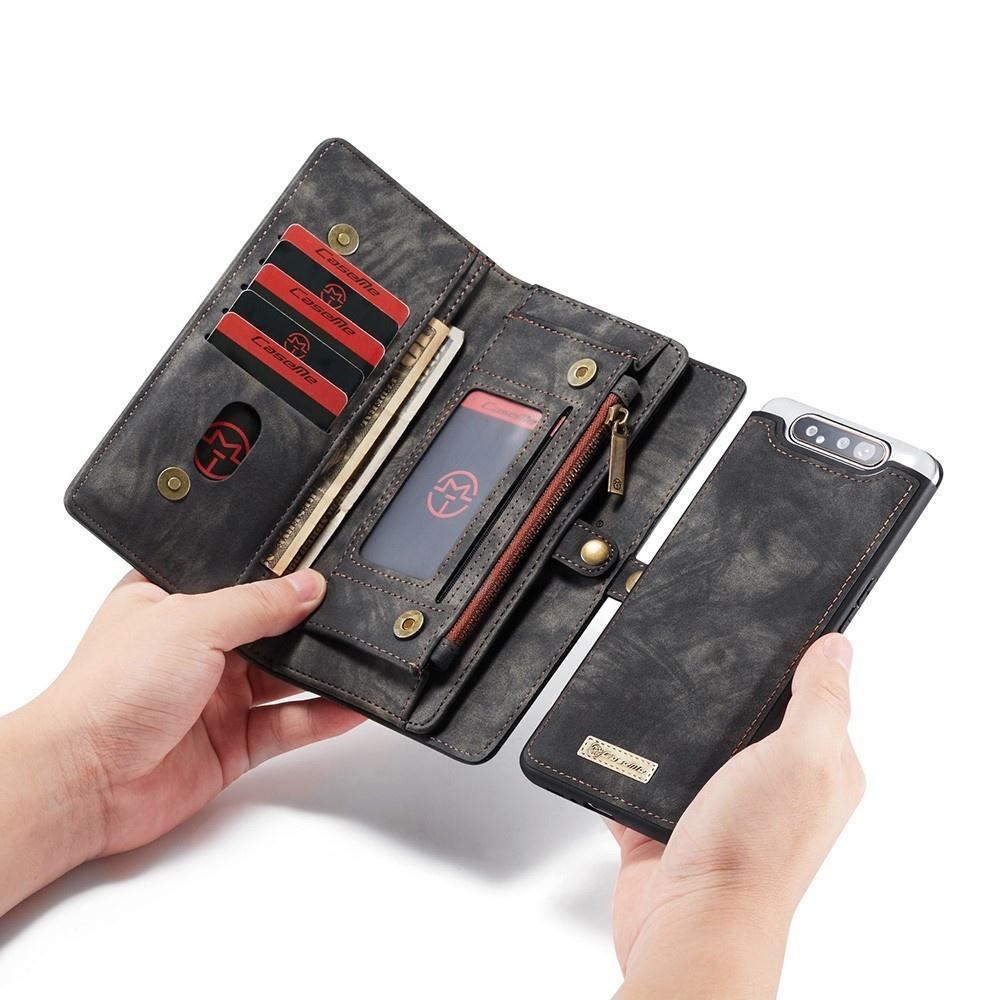 Caseme Vintage 2 in 1 portemonnee hoes Zwart voor de Samsung Galaxy A80