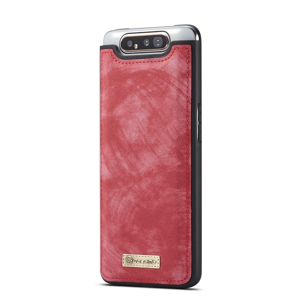 Caseme Vintage 2 in 1 portemonnee hoes Rood voor de Samsung Galaxy A80