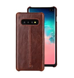 Pierre Cardin Pierre Cardin - echt lederen backcover hoes - Samsung Galaxy S10 Plus - Coffee