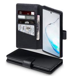 Qubits Qubits - luxe echt lederen wallet hoes - Samsung Galaxy Note 10 - Zwart