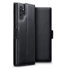 Qubits Qubits - lederen slim folio wallet hoes - Samsung Galaxy Note 10 Plus - Zwart