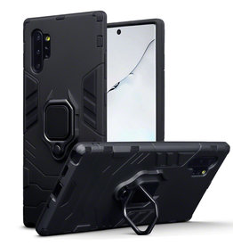Qubits Qubits - Double Armor Layer hoes met stand - Samsung Galaxy Note 10 Plus - Zwart